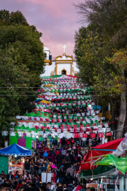 Pilgrims and visitors flock to the steps in front of Iglesia de Guadalupe, San Cristobal de las Casas
